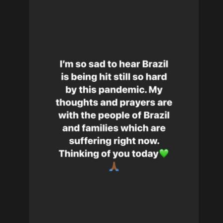 Hamilton lamentou o impacto do Coronavírus no Brasil em publicação no Instagram - Reprodução/Instagram