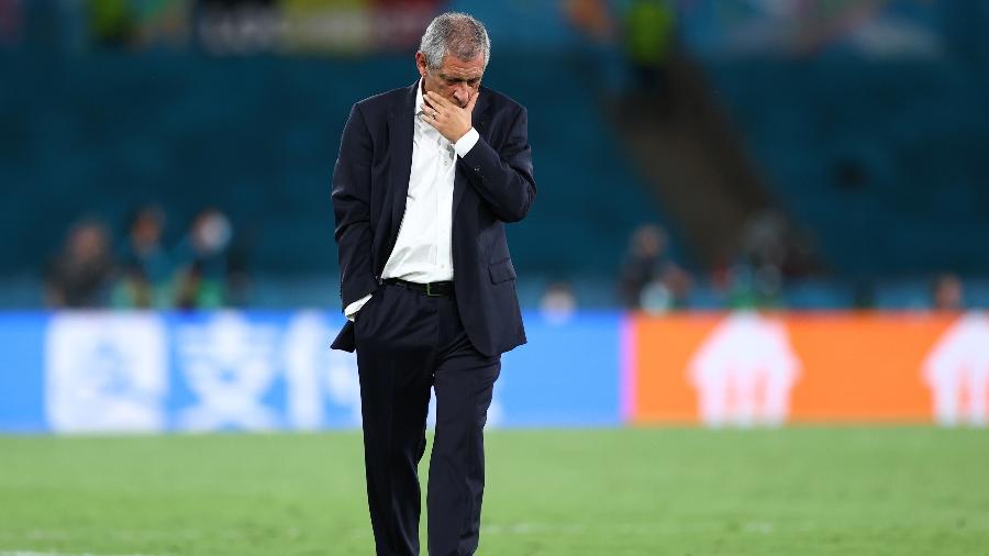 Fernando Santos, técnico de Portugal, durante o duelo contra a Bélgica, pela Eurocopa - Fran Santiago - UEFA/UEFA via Getty Images