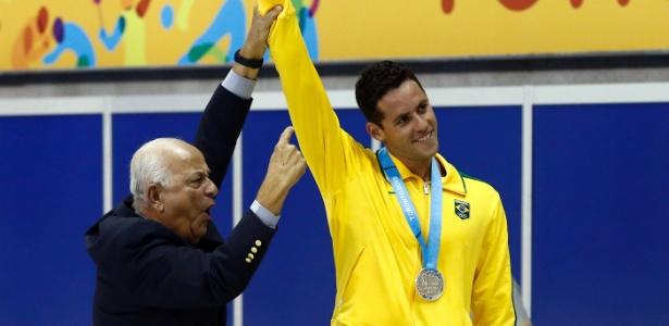 Coaracy Nunes, presidente da CBDA, ao lado de Thiago Pereira no Pan de 2011 - Rob Schumacher-USA TODAY Sports