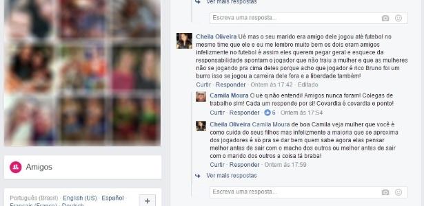 No Facebook, Camila foi questionada sobre suposta amizade entre Léo Moura e Bruno