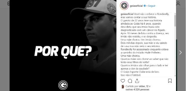 Torcedor do Goiás é assassinado a tiros quando saia de casa para ver clássico - Reprodução Instagram