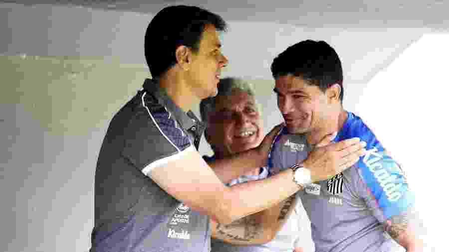 Jorge Andrade, novo gerente de base do Santos, com Renato, ex-volante e hoje dirigente do clube - Pedro Ernesto Guerra Azevedo/Santos FC