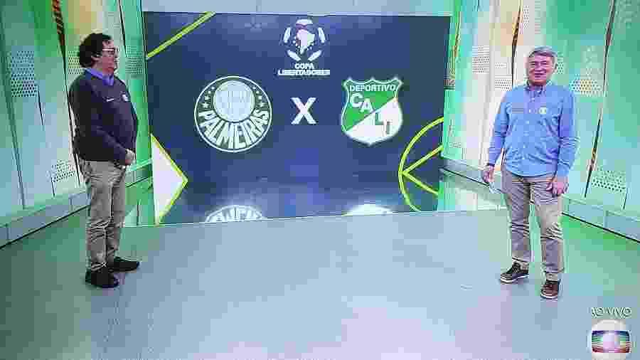Cleber Machado e Casagrande durante o Show do Intervalo na reprise de Palmeiras x Deportigo Cali - Reprodução
