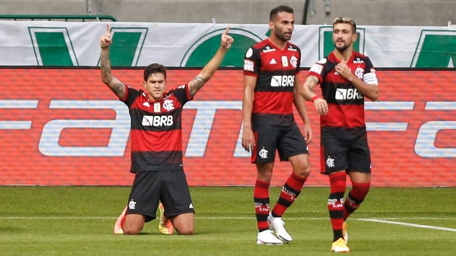 Pedro comemora gol de empate do Flamengo contra o Palmeiras: time esfacelado foi ao Allianz Parque  - Marcello Zambrana/AGIF