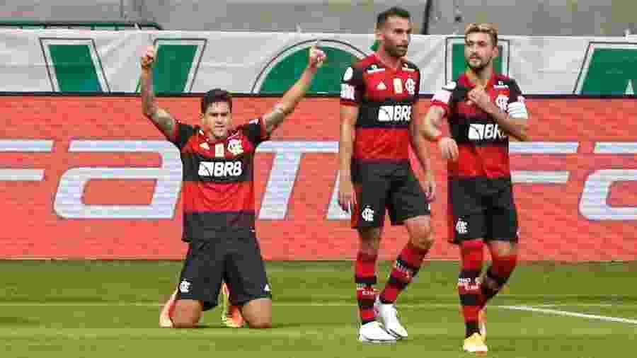 Pedro comemora gol de empate do Flamengo contra o Palmeiras - Marcello Zambrana/AGIF