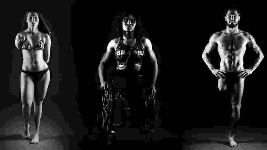 Maria Dayanne da Silva, atleta da natação classe s6, Raíssa Rocha Machado, atleta do arremesso do dardo do atletismo, classe F56,Andrey Garbe, atleta da Natação classe S9 - Ale Cabral/CPB