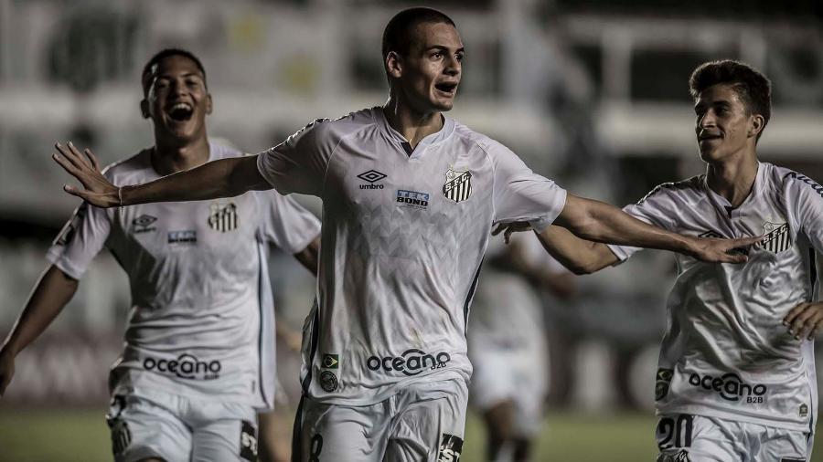 Ângelo, Kaiky e Gabriel Pirani na vitória do Santos em cima do Deportivo Lara (VEN) pela Pré-Libertadores, em 9 de março de 2021 - Ivan Storti/Santos FC