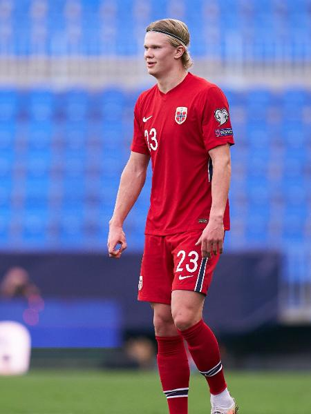 Erling Haaland, em partida da seleção norueguesa - Quality Sport Images/Getty Images