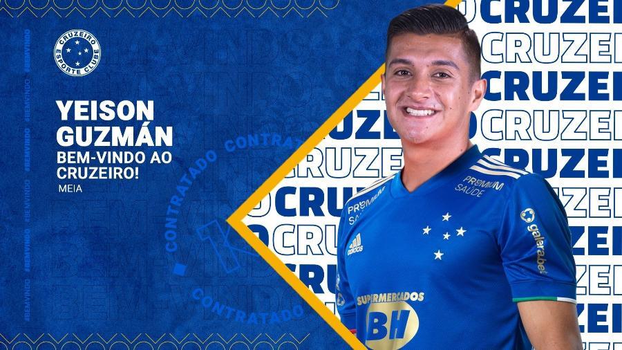 O Cruzeiro havia noticiado contrato de cinco anos com Yeison Guzmán, jovem meio-campista colombiano - Divulgação/Cruzeiro