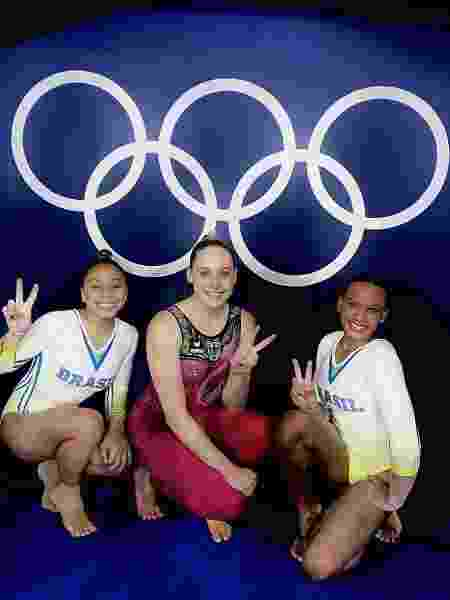 Flavia Saraiva, Sarah Voss e Rebeca Andrade após treino em Tóquio - Reprodução/Instagram - Reprodução/Instagram