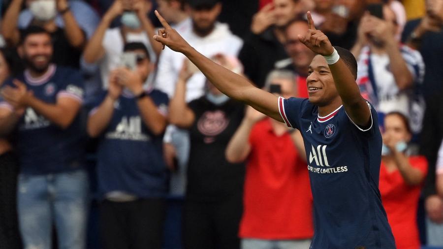 Pela terceira temporada consecutiva, Kylian Mbappé é o jogador mais caro da Champions - Frank Fife/AFP