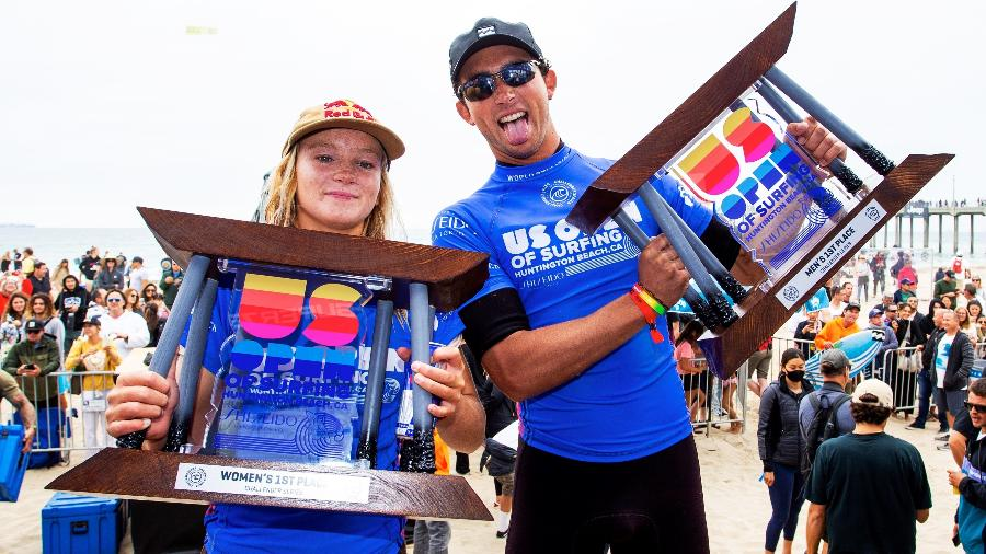 Caitlin Simmers e Griffin Colapinto, campeões do US Open of Surfing - WSL