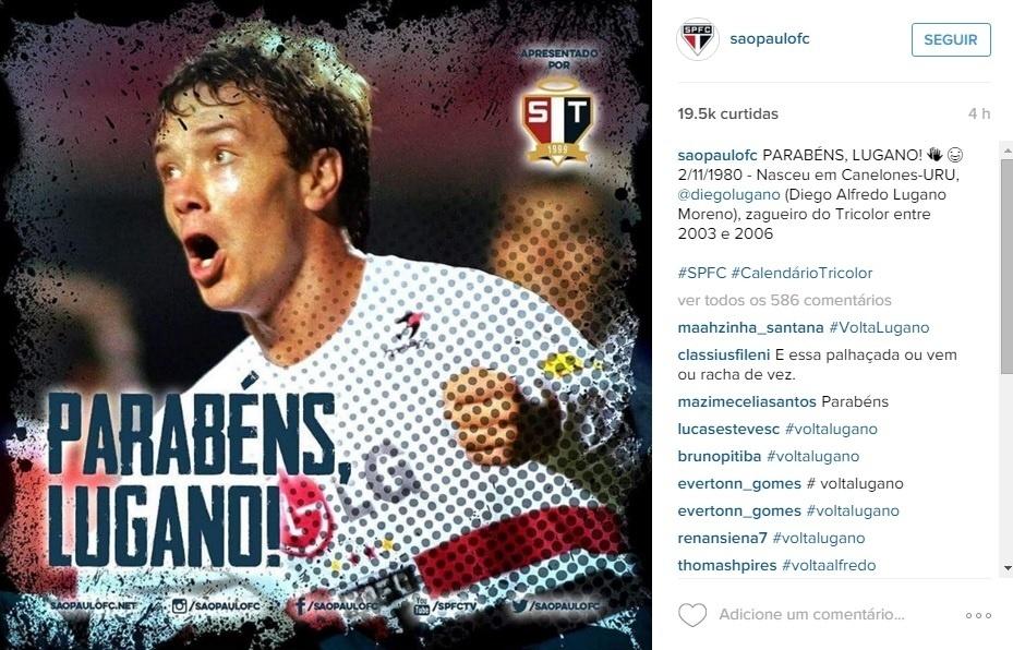 Páginas oficiais do São Paulo postam foto parabenizando Lugano pelo aniversário dele
