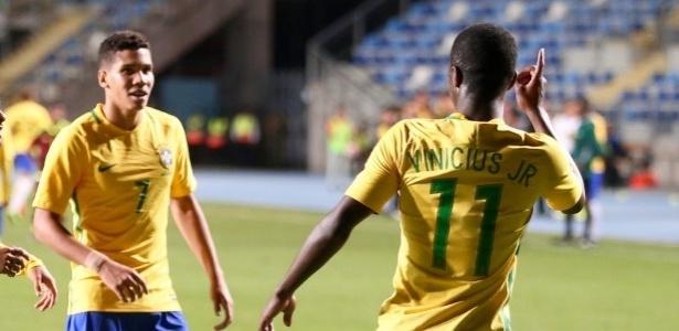 Paulinho e Vinicius Jr. já foram parceiros no sub-17 e são trunfos de Vasco e Fla