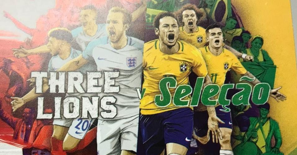 Detalhe do ingresso para o jogo entre Inglaterra x Brasil, com David Luiz em destaque na divulgação