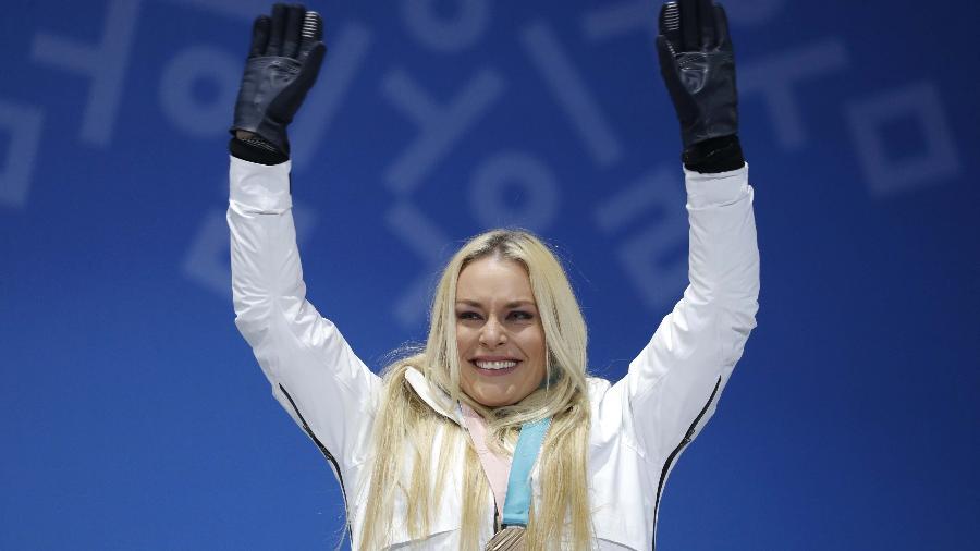 Lindsey Vonn comemora medalha de bronze em Pyeongchang - Eric Gaillard/Reuters