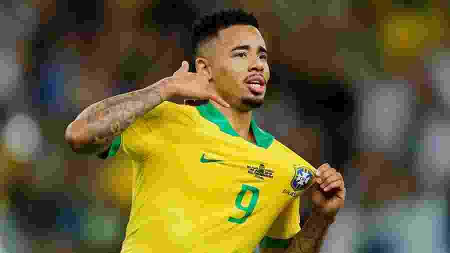 Gabriel Jesus comemora seu gol na final da Copa América - REUTERS/Luisa Gonzalez