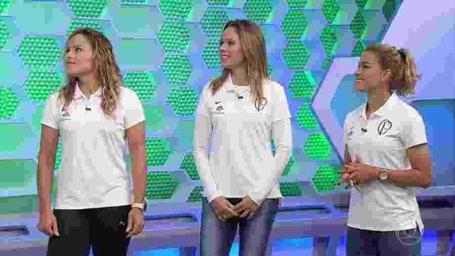 Monica, Erika e Tamires participaram de transmissão da TV Globo - Reprodução