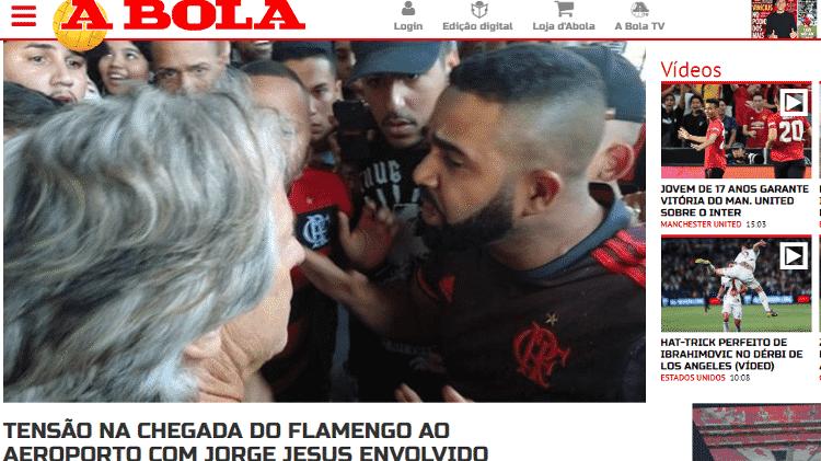 """Jornal """"A Bola"""" destacou a conversa entre Jorge Jesus e torcedores do Flamengo - Reprodução/A Bola"""