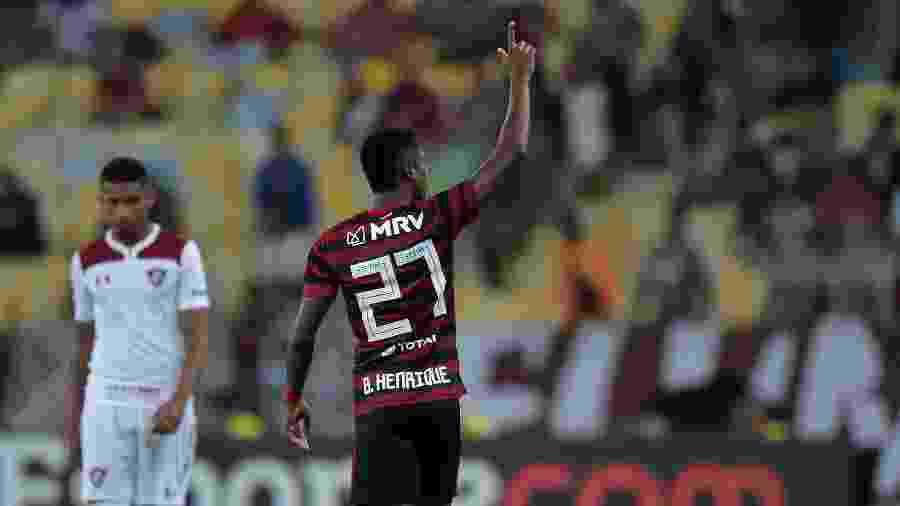 Bruno Henrique comemora gol do Flamengo sobre o Fluminense na Taça Guanabara - Thiago Ribeiro/AGIF
