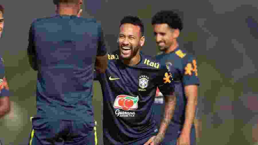 Neymar, durante treinamento da seleção brasileira na Granja Comary - Lucas Figueiredo/CBF