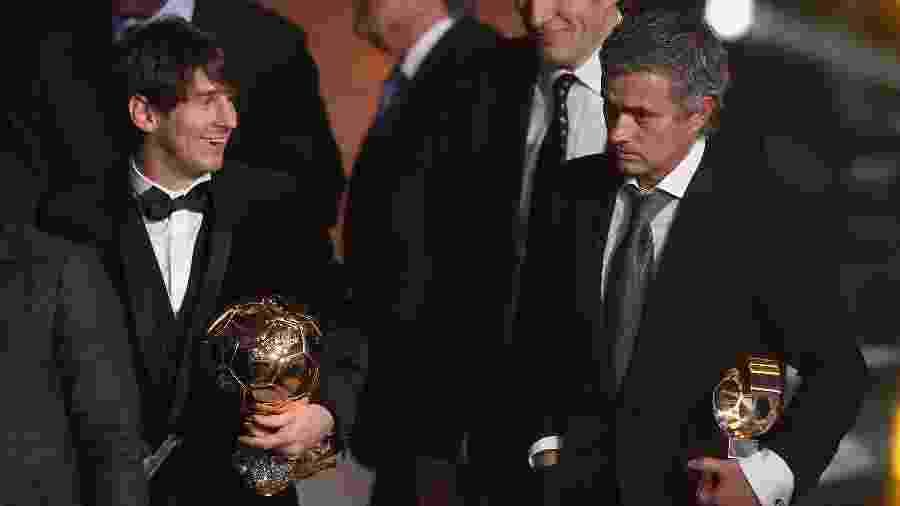Lionel Messi e José Mourinho, durante cerimônia da Bola de Ouro em 2010 - Michael Steele/Getty Images