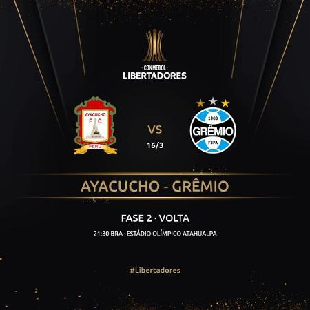 Jogo entre Ayacucho e Grêmio acontecerá em Quito após veto por covid-19 - Instagram