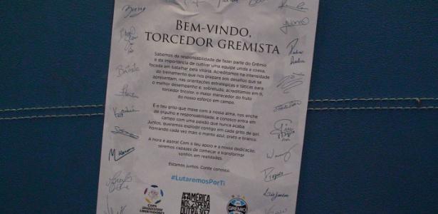 Carta promete empenho dos jogadores do Grêmio em campo