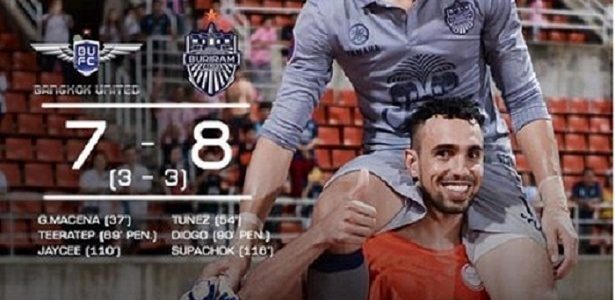 Diogo, ex-Palmeiras, comemora gol pelo Buriram United