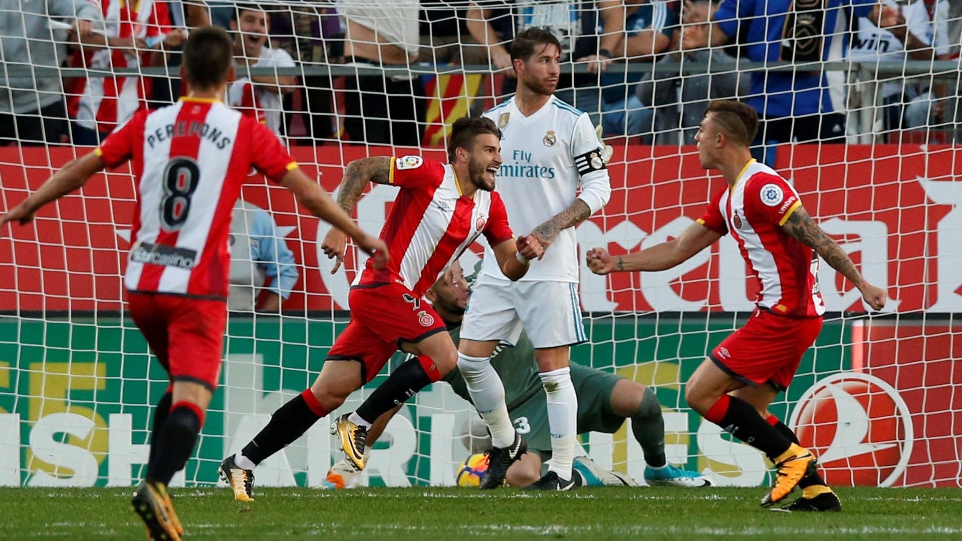 Portu comemora o seu gol para o Girona contra o Real Madrid