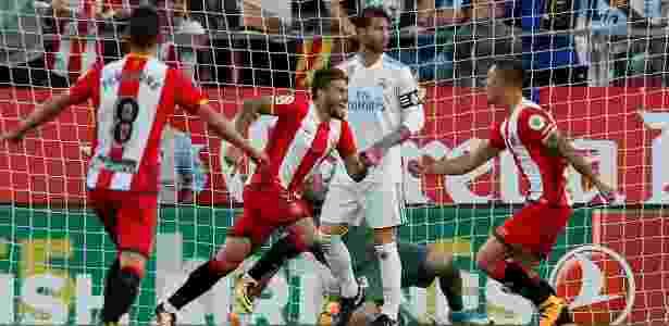 Portu comemora o seu gol para o Girona contra o Real Madrid - Albert Gea/Reuters - Albert Gea/Reuters