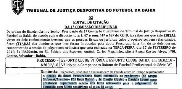 TJD marca julgamento do Ba-Vi e intima repórteres para testemunhar ... c05c17d310b64