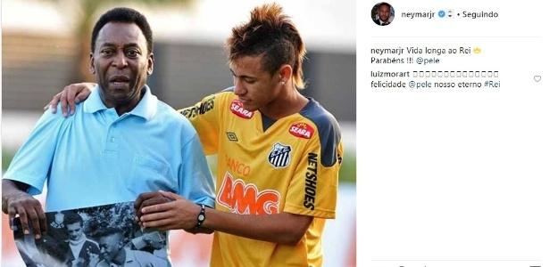 Neymar parabeniza Pelé por aniversário de 78 anos - Reprodução