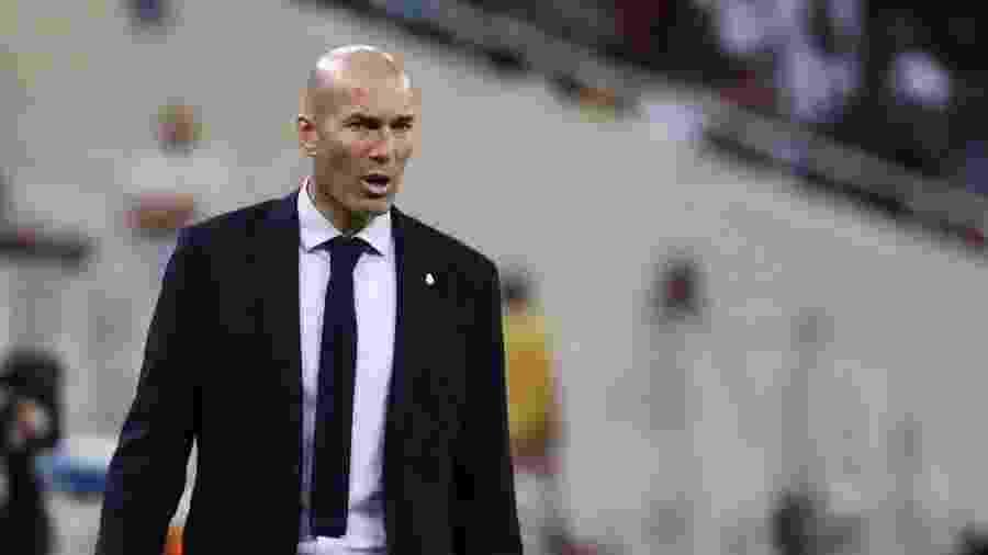 8.jan.2020 - Técnico Zinedine Zidane durante partida do Real Madrid - Sergio Perez / Reuters