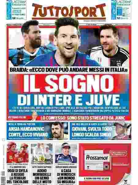 Capa do jornal italiano Tuttosport sobre Messi - Reprodução/Tuttosport