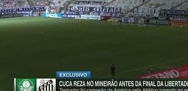 Cuca repete cena de título da Libertadores antes da final pelo Santos