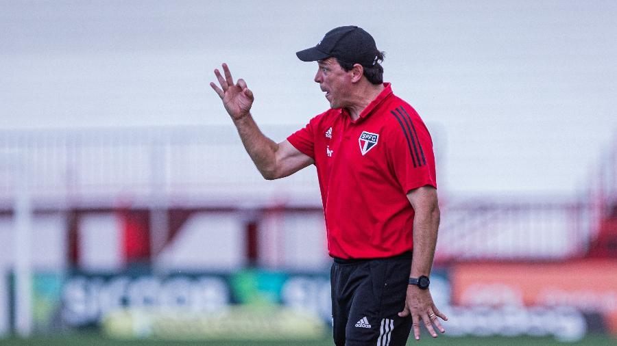Fernando Diniz comanda o São Paulo à beira do campo contra o Atlético-GO -  Heber Gomes/AGIF