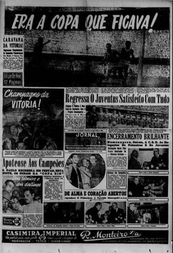 Capa do Jornal dos Sports sobre a conquista do Palmeiras em 1951