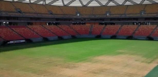 Gramado da Arena da Amazônia foi infestado por praga de lagartas