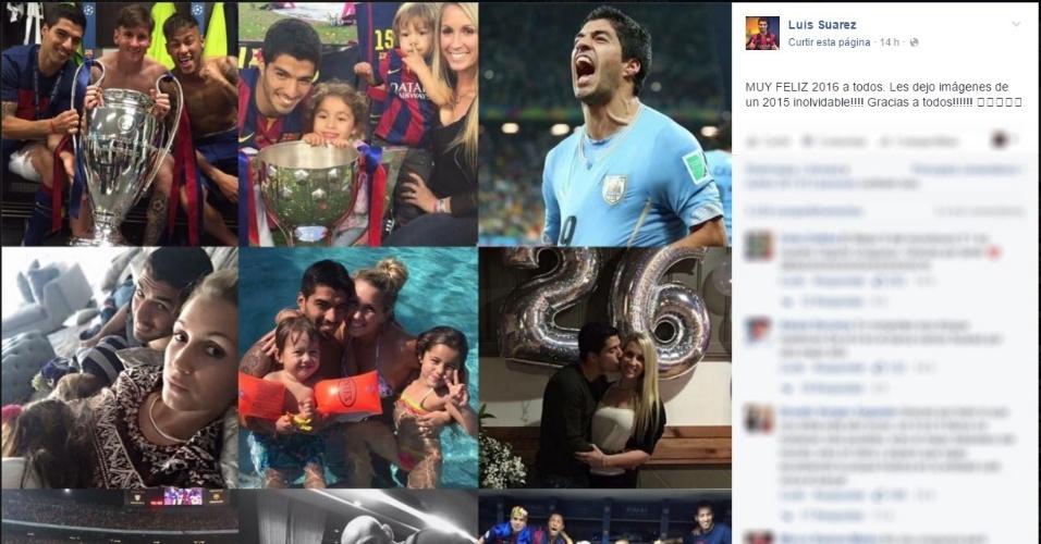 Luis Suárez relembrou imagens de 2015 e desejou um 2016 'muito feliz' aos fãs na Internet