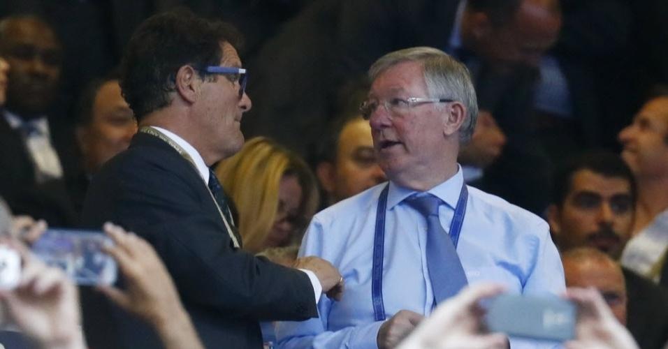 Fabio Capello e Alex Ferguson acompanham em San Siro final da Liga dos Campeões entre Real Madrid e Atlético de Madri