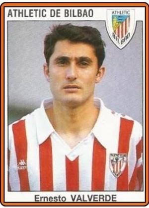 ERNESTO VALVERDE, técnico do Barcelona, jogava como atacante e defendeu o Athletic Bilbao entre 1990 e 1996