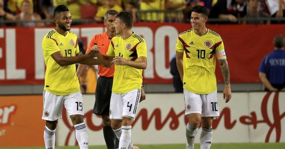 Miguel Borja comemora gol marcado pela Colômbia em amistoso contra EUA