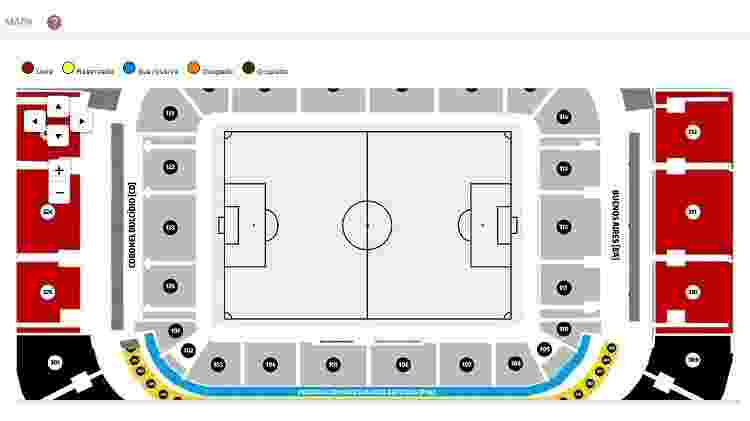 Setores da Arena da Baixada para compra de ingressos - Reprodução/Site oficial do Athletico - Reprodução/Site oficial do Athletico