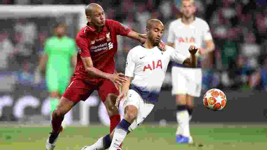 Fabinho (à esq.), do Liverpool, e Lucas Moura, do Tottenham, na final da Liga dos Campeões - Carl Recine/Reuters