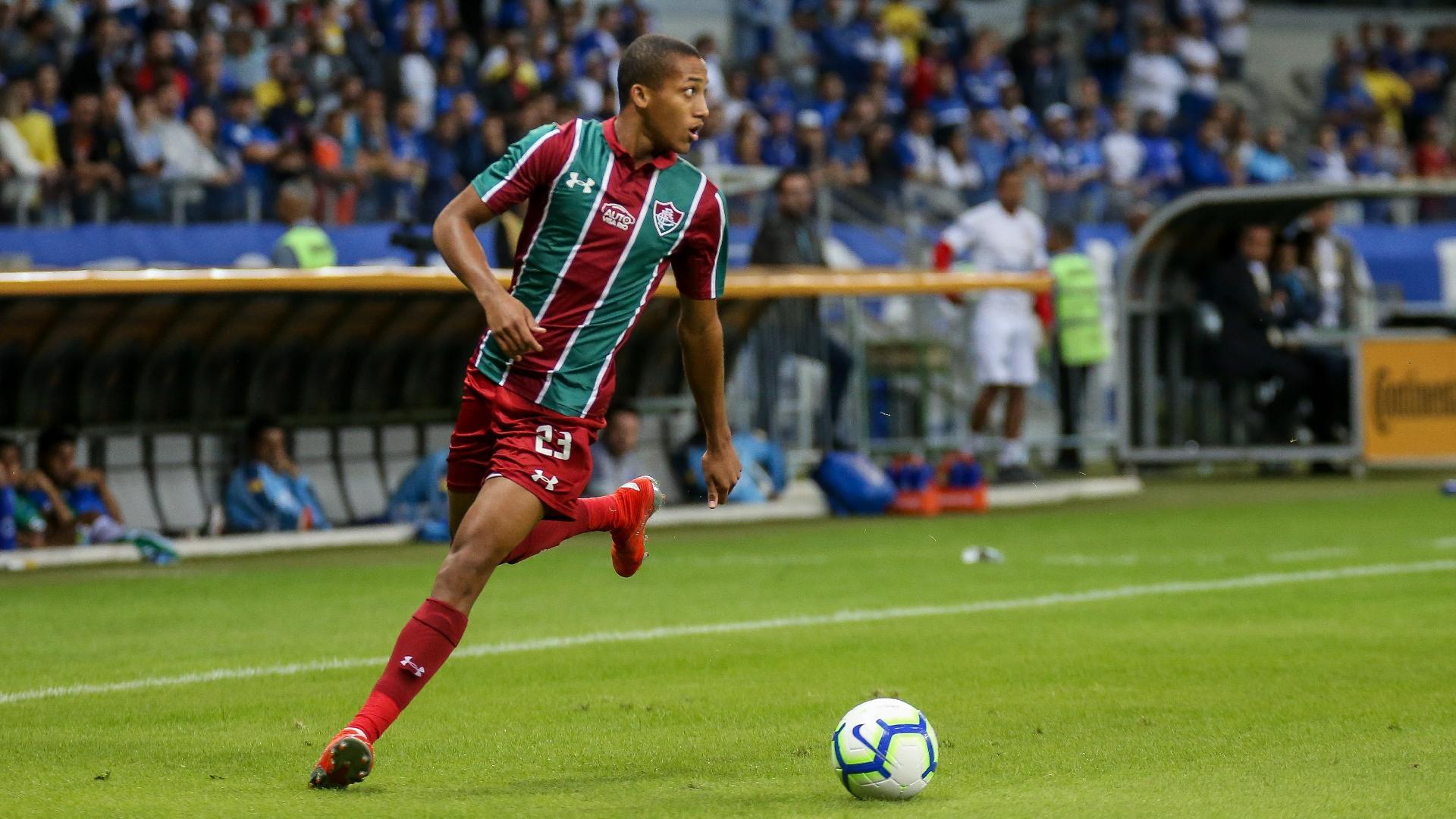 João Pedro, durante partida entre Fluminense e Cruzeiro