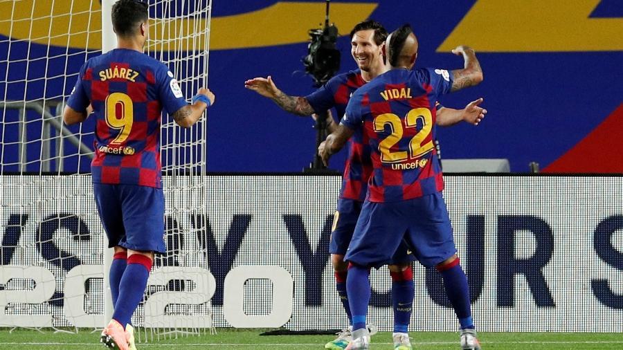 Messi comemora gol do Barcelona contra o Leganés, pelo Campeonato Espanhol - REUTERS/Albert Gea
