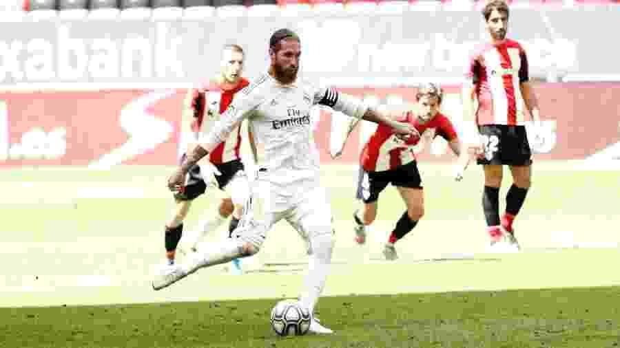 Sergio Ramos marca gol da vitória do Real Madrid contra o Athletic Bilbao em cobrança de pênalti - Reprodução/Twitter/@realmadrid