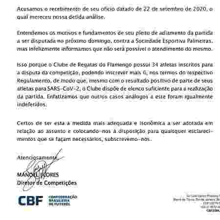 CBF nega pedido do Flamengo para adiar jogo com o Palmeiras - Reprodução - Reprodução