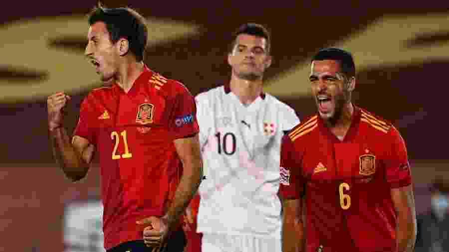 Mikel Oyarzabal e Mikel Merino celebram gol da Espanha diante da Suíça em jogo da Liga das Nações - Gabriel Bouys/AFP